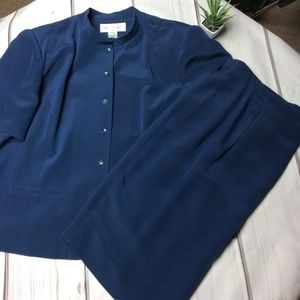 Rena Rowan 100% Silk Navy Blue Skirt Set Size 20W